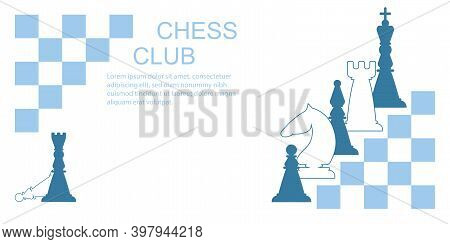 Light And Dark Chess Pieces. Queen, Bishop, Knight, Castle, Pawn. Vector Illustration.
