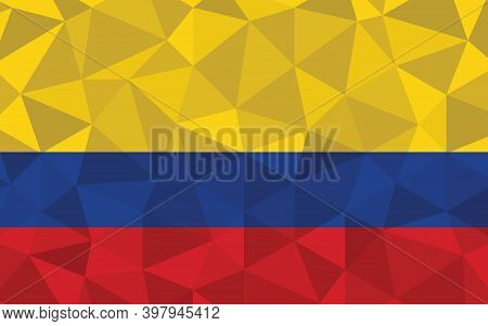 Low Poly Colombia Flag Vector Illustration. Triangular Colombian Flag Graphic. Colombia Country Flag