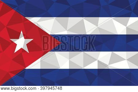 Low Poly Cuba Flag Vector Illustration. Triangular Cuban Flag Graphic. Cuba Country Flag Is A Symbol