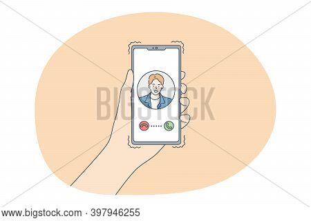 Online Dating, Using Smartphone, Communication Concept. Female Hands With Smartphone Choosing Potent