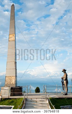 Gurkha Soldier Statue At Batista Loop On The Way Of Toy Train In Darjeeling, India