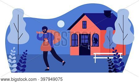 Burglar In Balaclava Carrying Bags From House. Thief, Gangster, Broken Window Flat Vector Illustrati