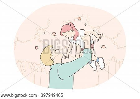 Fathers Day, Father And Daughter, Happy Childhood Concept. Young Positive Man Father Playing With Hi
