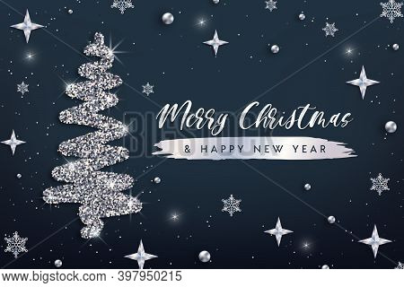 Merry Christmas And Happy New Year Greeting Card Template. Hand Drawn Stylized Christmas Tree With S