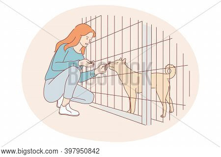 Dogs From Shelter, Volunteering, Helping Animals Concept. Young Happy Girl Cartoon Character Sitting