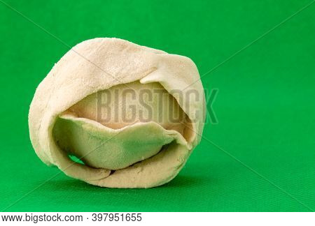 Close-up, Manti, Ravioli National Frozen Semi-finished Product, For Steaming, With Meat Filling In A
