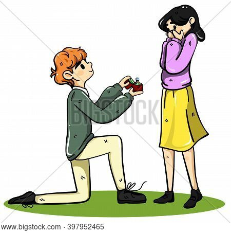 Couple In Love. Guy Makes A Proposal Of Marriage To Girl. Color Flat Cartoon Vector Illustration Iso