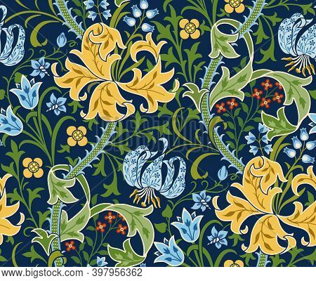 Floral Seamless Pattern With Big Flowers, Lily And Foliage On Dark Green Background. Blue Tulips, Li
