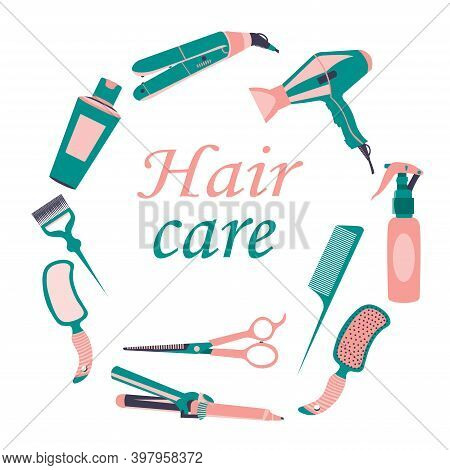 Collection Of Beauty Hair Care Tools Or Barber Accessories. Isolated Icons On White Background. Hair
