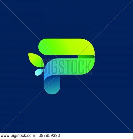 P Letter Green Gradient Eco Logo. Vector One Line Colorful Typeface For Agriculture Branding Design,