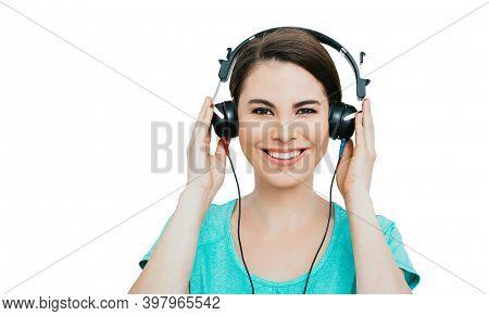 Hearing Test, Hearing Diagnostic. Smiling Hispanic Woman Wearing Headphones Having An Audiometry Tes