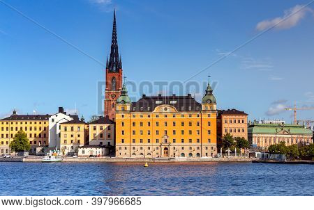 View Of The Island Of Galma Stan On A Sunny Day. Stockholm. Sweden.