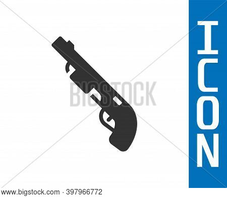Grey Police Shotgun Icon Isolated On White Background. Hunting Shotgun. Vector
