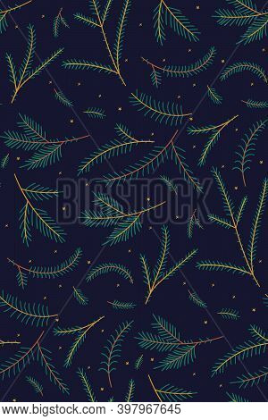 Seamless Pattern With Christmas Tree Branches. Surface Design For Textile, Fabric, Wallpaper, Wrappi