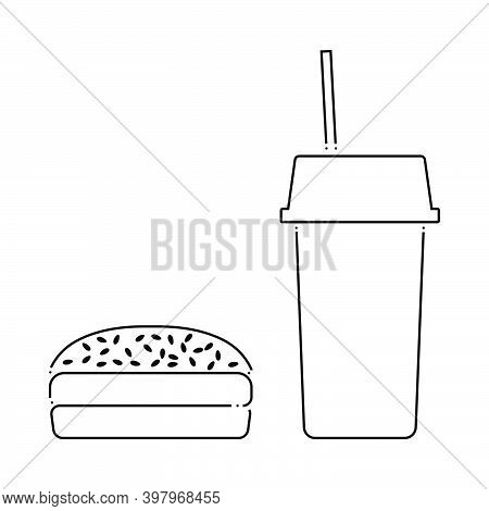 Fast Food Icon. Outline Simple Design. Vector Illustration.