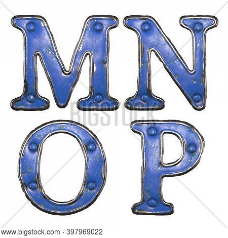 Set of uppercase letters M, N, O, P made of painted metal with blue rivets on white background. 3d rendering