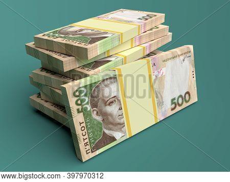 Stack Of Ukrainian Money Hryvnia (grivna, Hryvna) With 500 Banknotes
