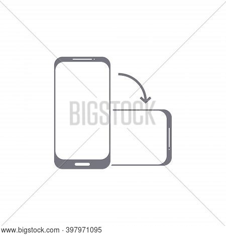 Rotate Phone Vector Icon. Flip Screen Mobile Phone Device Orientation Symbol