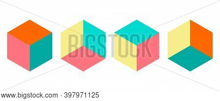 Dimension 3d Isometric Retro Puzzle Figures Colorful Vector Game Blocks.