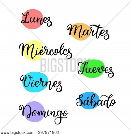 Lettering In Spanish, Days Of The Week. Handwritten Words For Calendar, Weekly Plan, Organizer.
