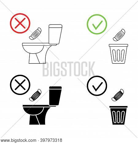 Do Not Litter In The Toilet. Toilet No Trash. Keeping The Clean. Please Do Not Flush Mask, Sanitary