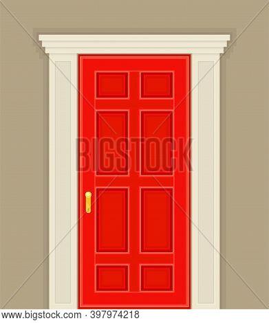 Rectangular Red Door As Building Entrance Exterior Vector Illustration