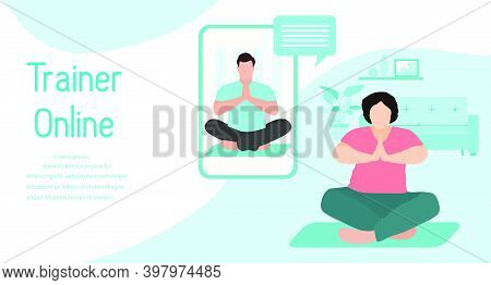 Vector Illustration Training With An Online Trainer Sport Fitness Training At Home Online Sports Act