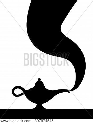 Lamp Aladdin Magic Vector Icon Smoke. Aladin Genie Lamp Bottle Wish Cartoon Illustration