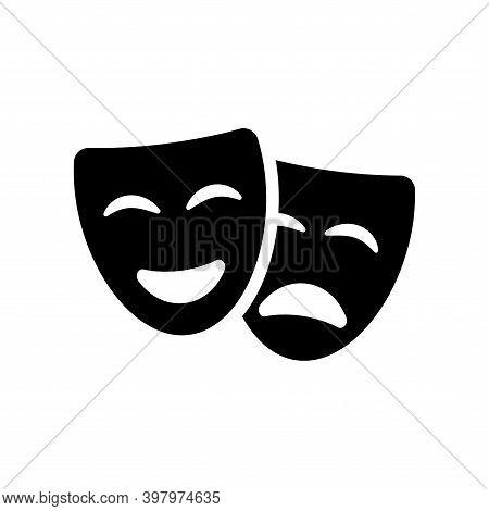 Theatre Mask Icon Silhouette. Theatre Drama Comedy Vector Icon, Actor Acting Logo