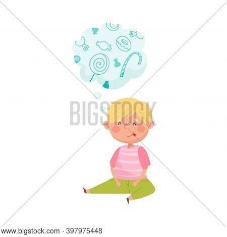 Delighted Red Cheeked Boy Sitting On The Floor And Dreaming About Sweet Candy Vector Illustration