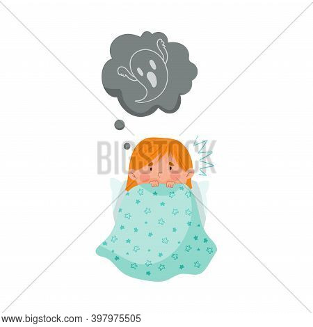 Frightened Girl Hiding Under Blanket In Bed And Imagining Spooky Ghost Vector Illustration