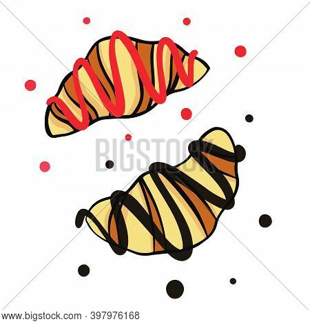 Sketch Illustration Of Strawberry Croissant And Chocolate Croissant In Vector Isolated On White Back
