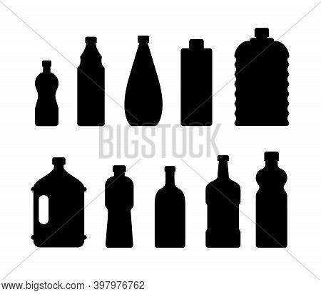Plastic Water Bottle Icon. Blue Liquid Container Drink, Bottle Silhouette Set. Water Cartoon Bottles