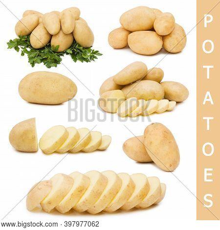 Raw Fresh Organic Potatoes On A White Background.