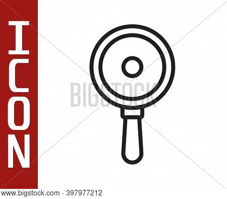 Black Line Frying Pan Icon Isolated On White Background. Fry Or Roast Food Symbol. Vector