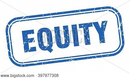 Equity Stamp. Equity Square Grunge Blue Sign