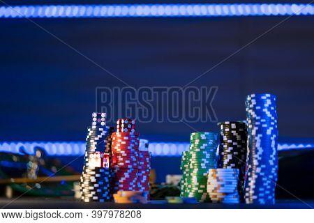 Casino table set on BlackJack mat