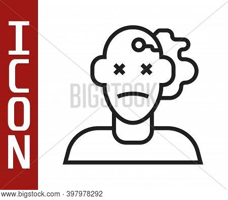 Black Line Murder Icon Isolated On White Background. Body, Bleeding, Corpse, Bleeding Icon. Concept