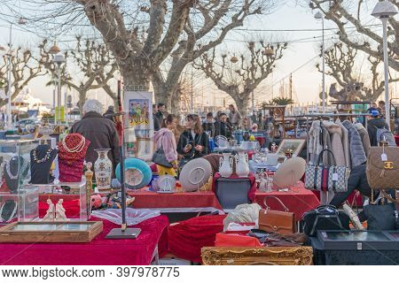 Cannes, France - January 28, 2018: People Shopping At Winter Antique Market In Cannes, France.