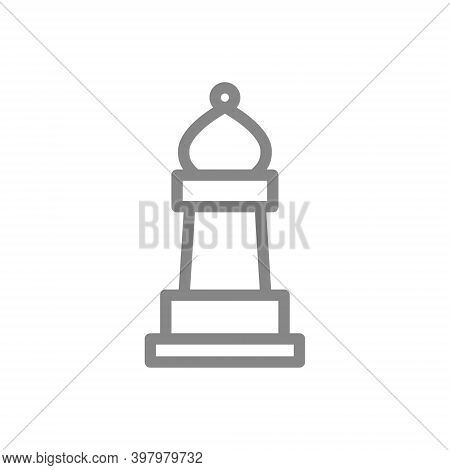 Bishop Chess Line Icon. Board Game, Table Entertainment Symbol