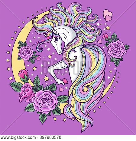 A Beautiful, White Unicorn With Roses And A Crescent Moon. Cute Girly Style. Vector Illustration