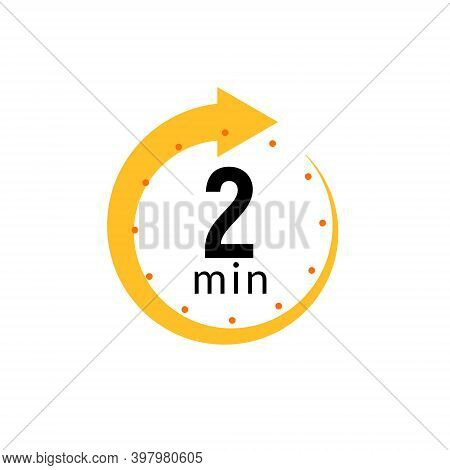 2 Minutes Clock Quick Number Icon. 2min Time Circle Icon