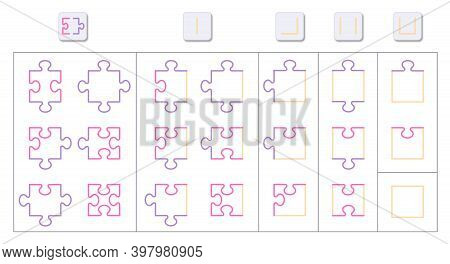 Jigsaw Puzzle Game Science Chart. Different Shapes Of All 21 Possible Pieces With Protrusions, Reces