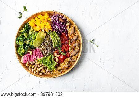 Buddha Bowl With Kale Salad, Chicken Fillet Quinoa, Avocado, Pumpkin, Tomato, Broccoli, Chickpea, Wa
