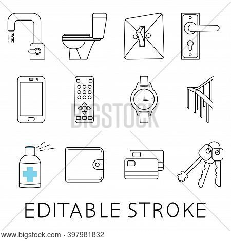 Disinfection Phone, Handrails, Door Knob And Other. Coronavirus, Virus Prevention Line Icons. A Set
