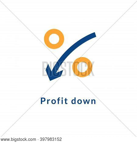 Low Rate Profit Cost Icon. Reduction Cost Decrease Percent Profit Down Sign
