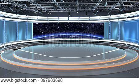 Virtual Tv Studio News Set 35. 3d Rendering. Virtual Set Studio For Chroma Footage. Wherever You Wan