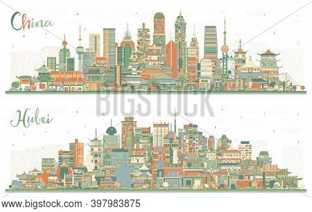 Hubei Province and China City Skyline Set with Color Buildings. Famous Landmarks in China. Business Travel and Tourism Concept with Modern Architecture. China Cityscape with Landmarks.