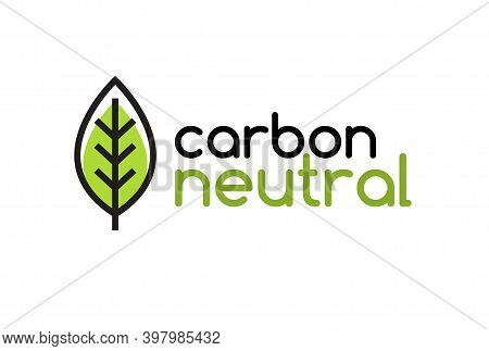 Carbon Neutral Icon Logo. Co2 Energy Monoxide Carbon Ecology Background Label Concept.