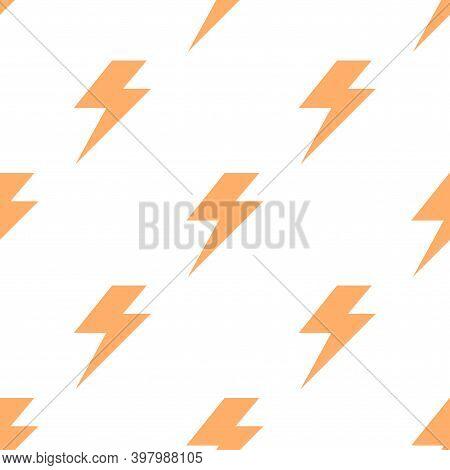 Lightning Bolt Flash Seamless Pattern. Thunderbolt Print Background